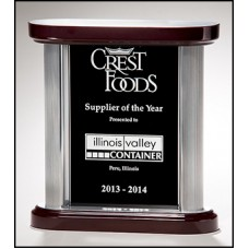 NEW    Black Glass Award with Silver Aluminum Posts